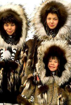 Inupiaq girls in parkas